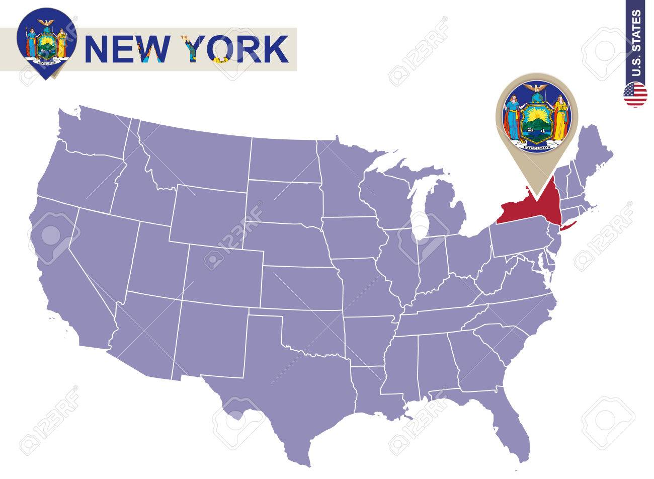 New York State On USA Map New York Flag And Map US States - Us map with new york