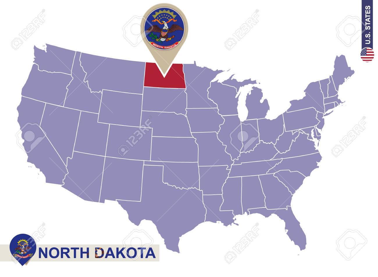 North Dakota State on USA Map. North Dakota flag and map. US..