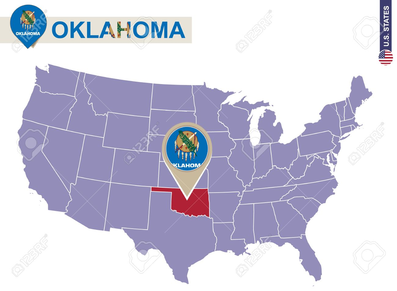 Oklahoma State On USA Map Oklahoma Flag And Map US States - Oklahoma in us map