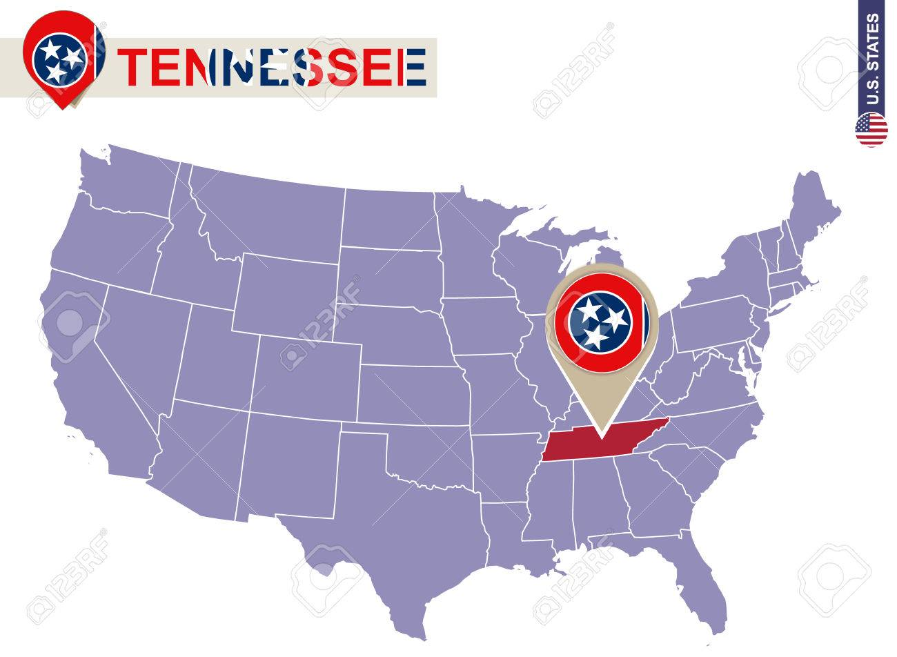 Tennessee State On Usa Map Tennessee Flag And Map Us States