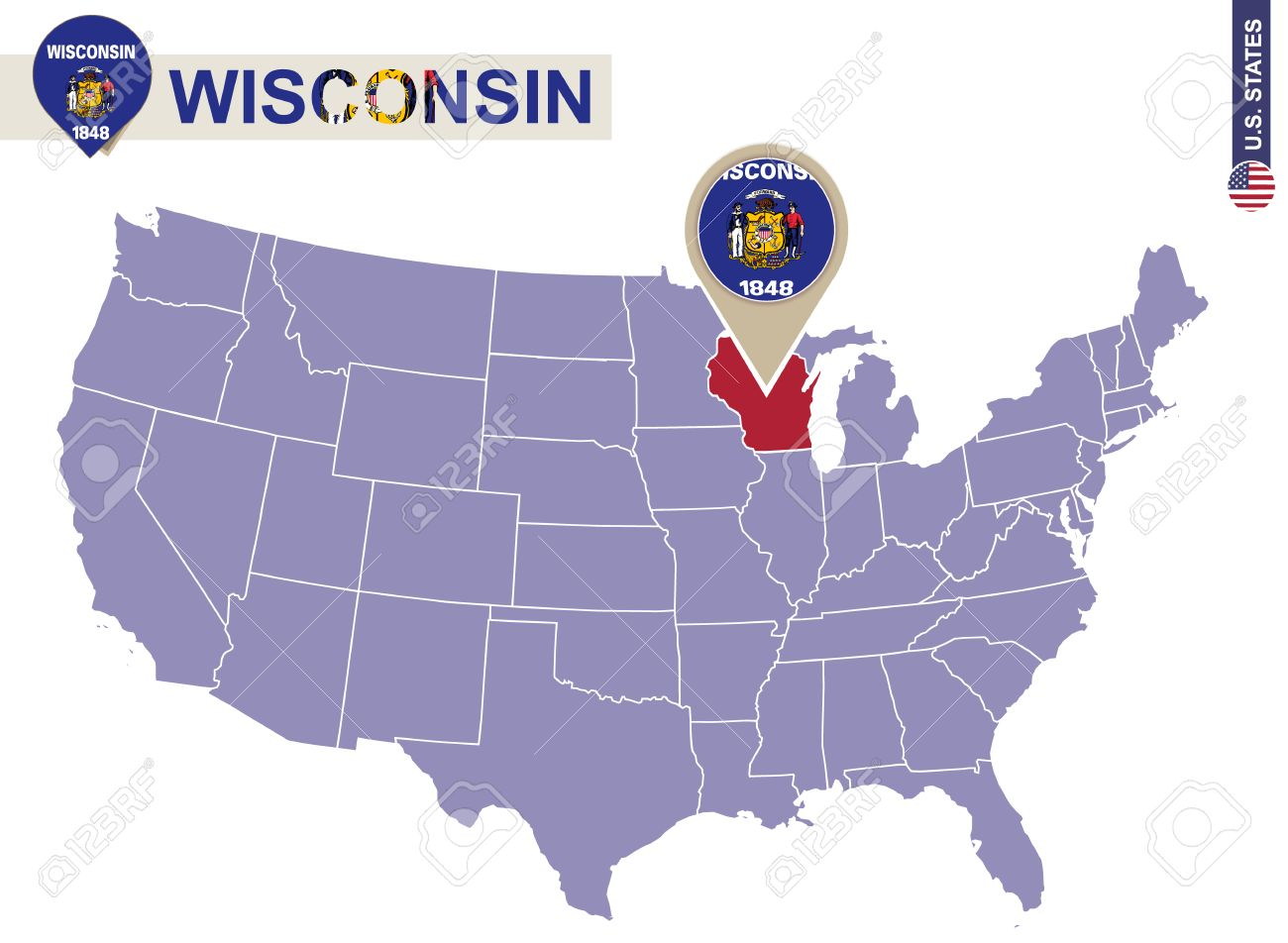 Wisconsin State on USA Map. Wisconsin flag and map. US States.