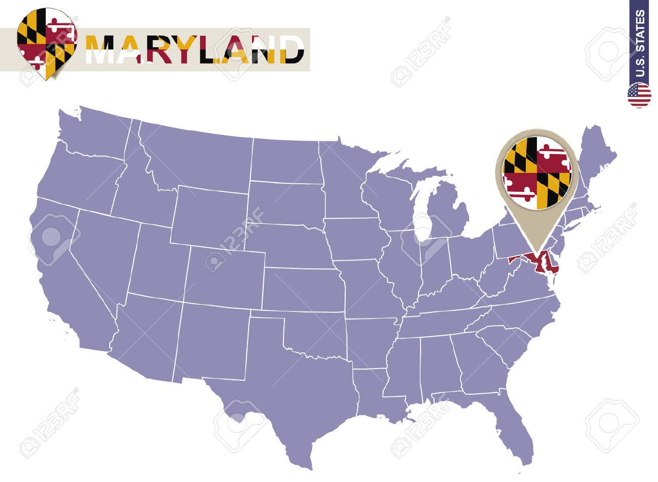 Maryland State On USA Map Maryland Flag And Map US States Royalty