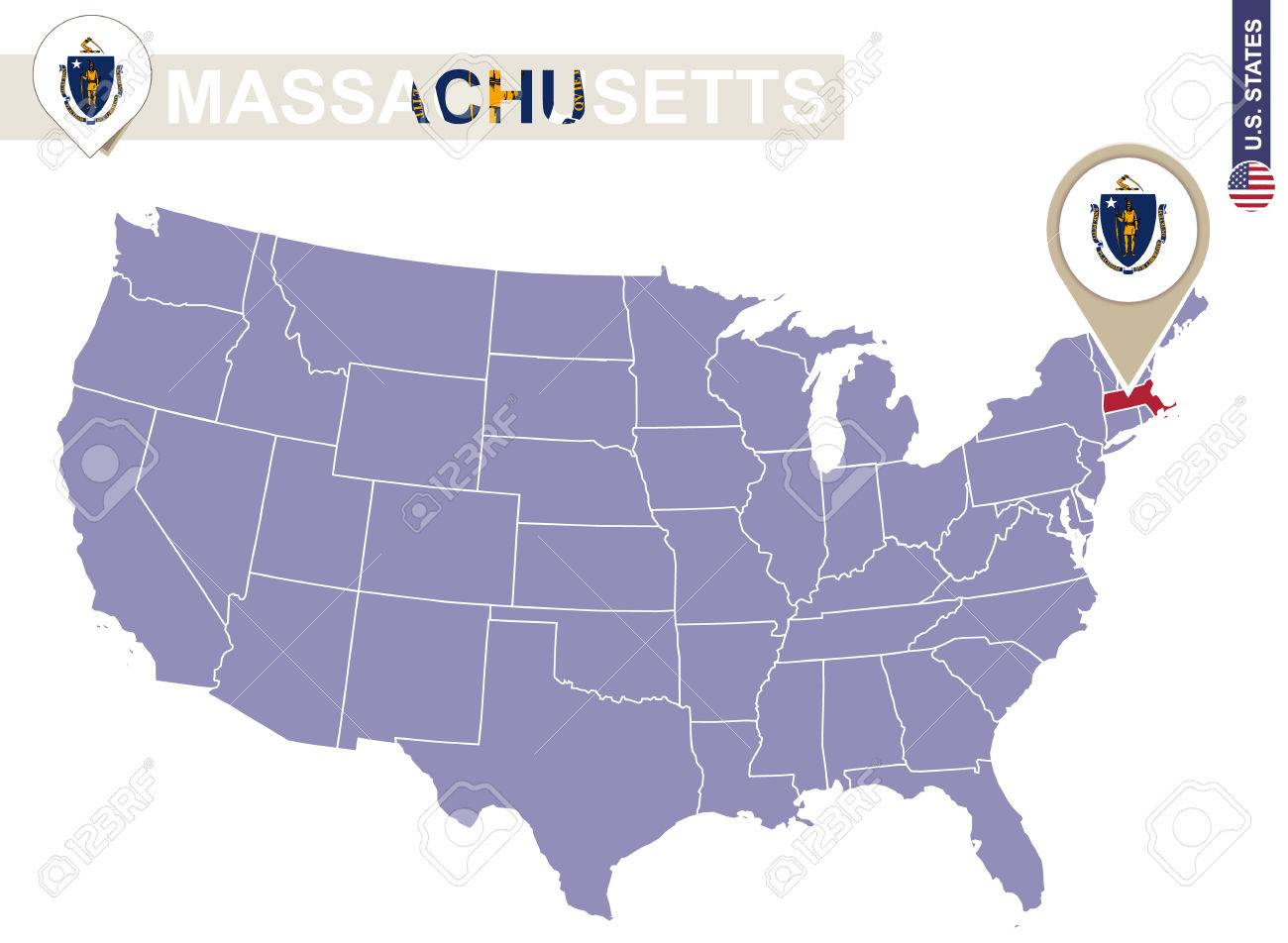 Massachusetts State On Usa Map Massachusetts Flag And Map Us