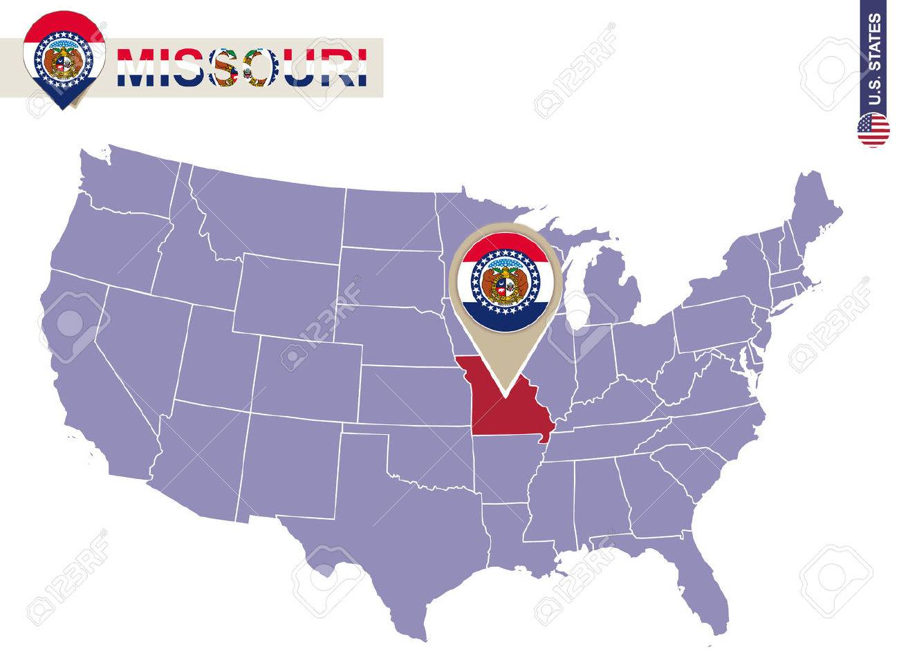 Missouri State On USA Map. Missouri Flag And Map. US States. Royalty ...