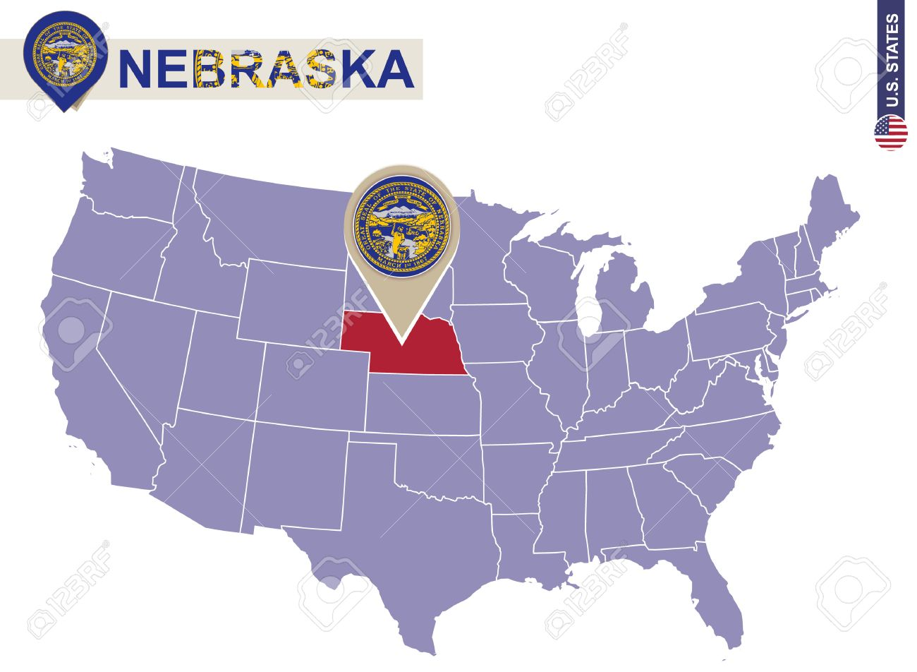 Nebraska State On USA Map Nebraska Flag And Map US States - Nebraska on a us map