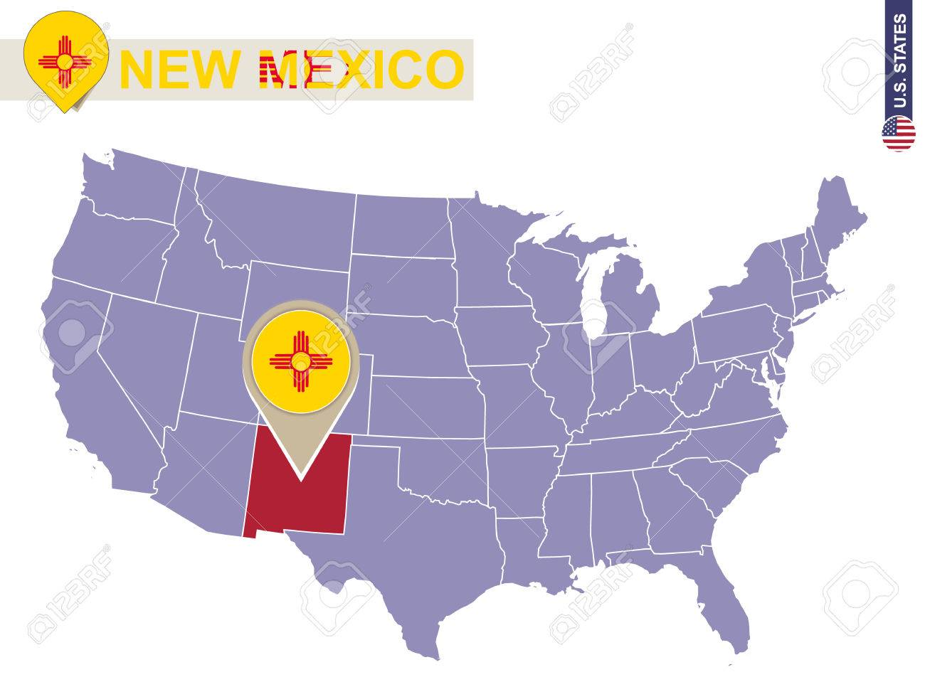 New Mexico State on USA Map. New Mexico flag and map. US States.