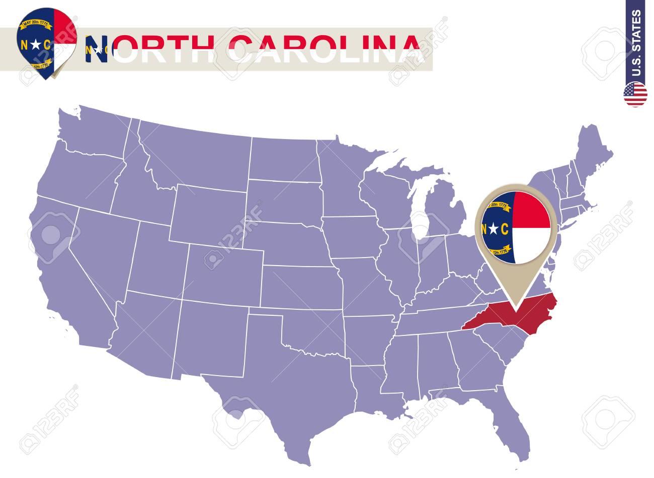 North Carolina State On USA Map. North Carolina Flag And Map ...