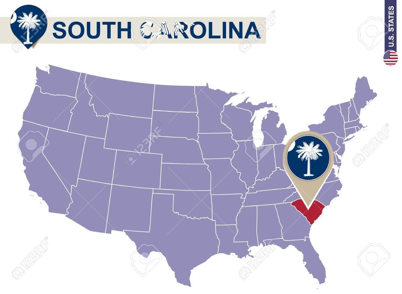 South Carolina State On USA Map South Carolina Flag And Map