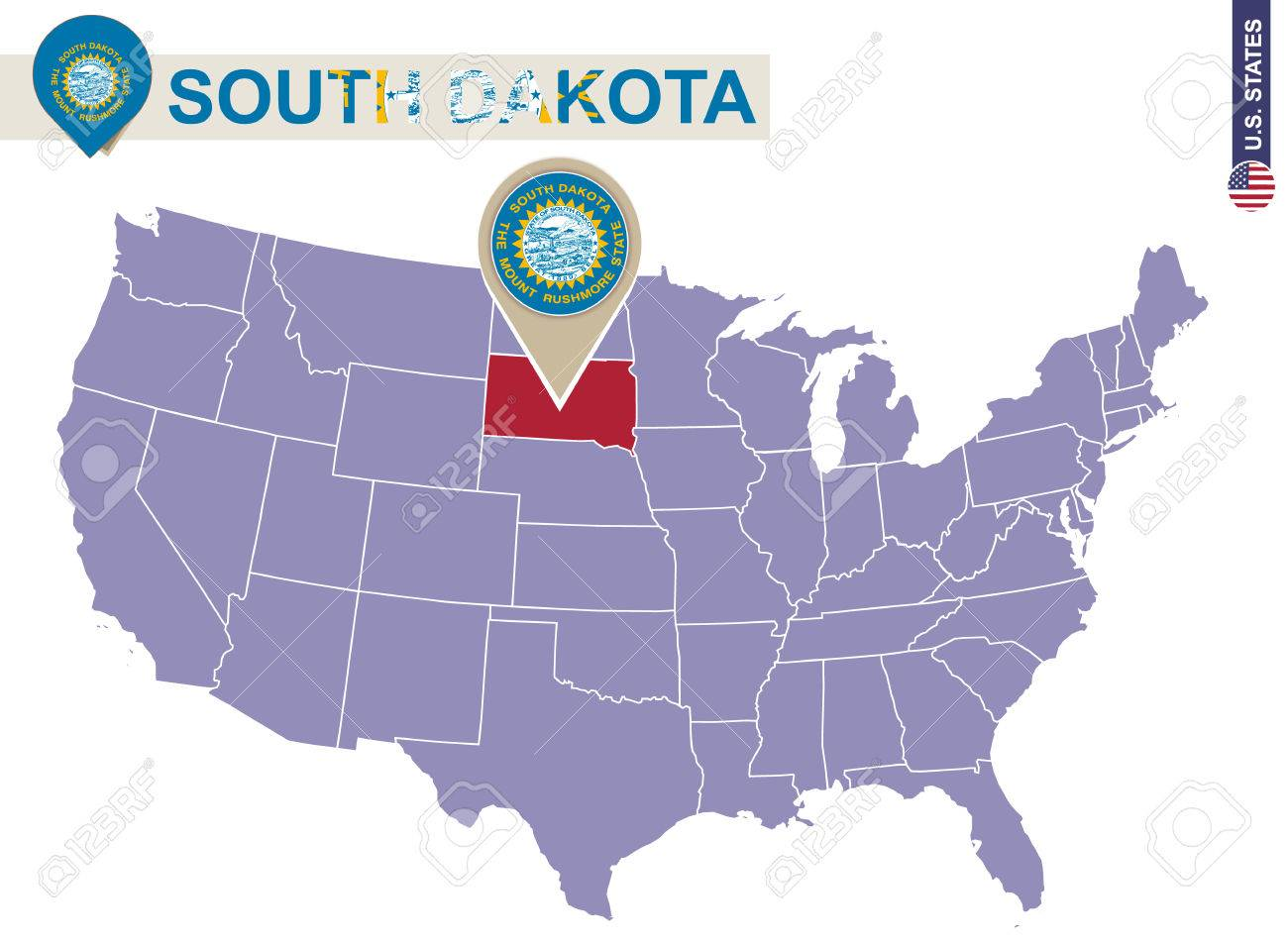 South Dakota State On Usa Map South Dakota Flag And Map Us