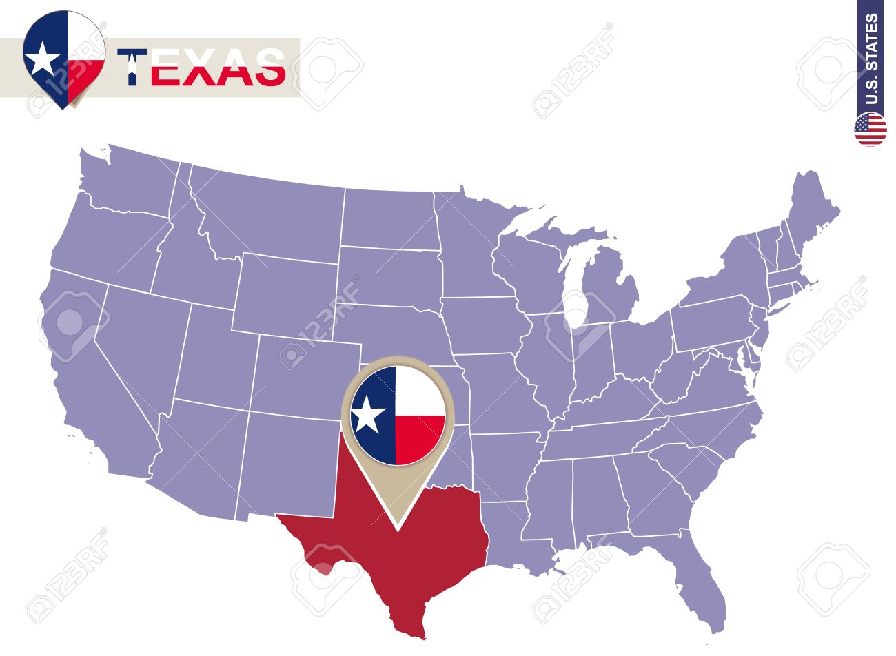Texas State On USA Map. Texas Flag And Map. US States. Royalty Free ...
