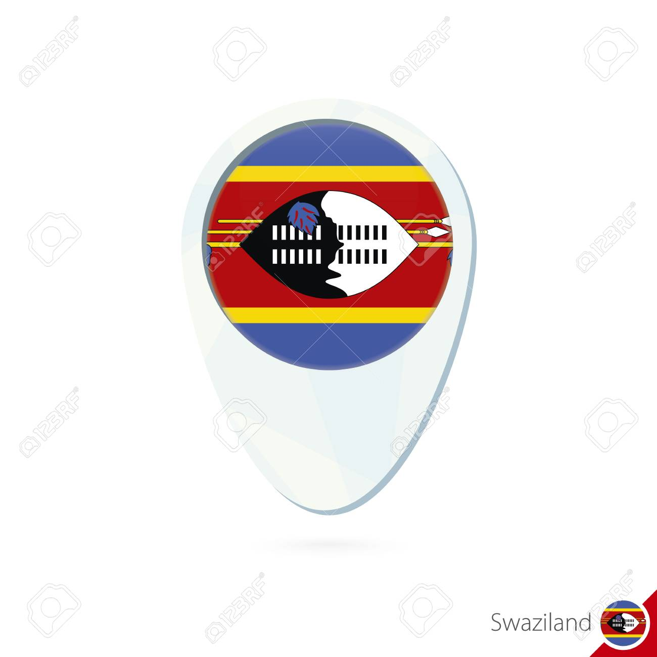 Swaziland Flag Location Map Pin Icon On White Background. Vector ...