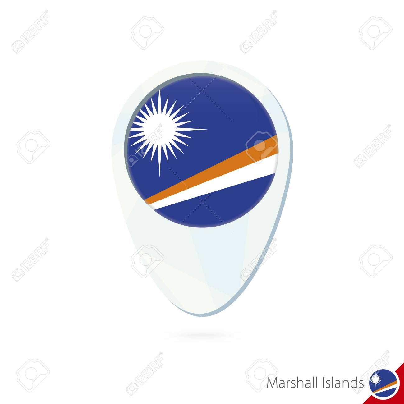 Marshall Islands Flag Location Map Pin Icon On White Background ...