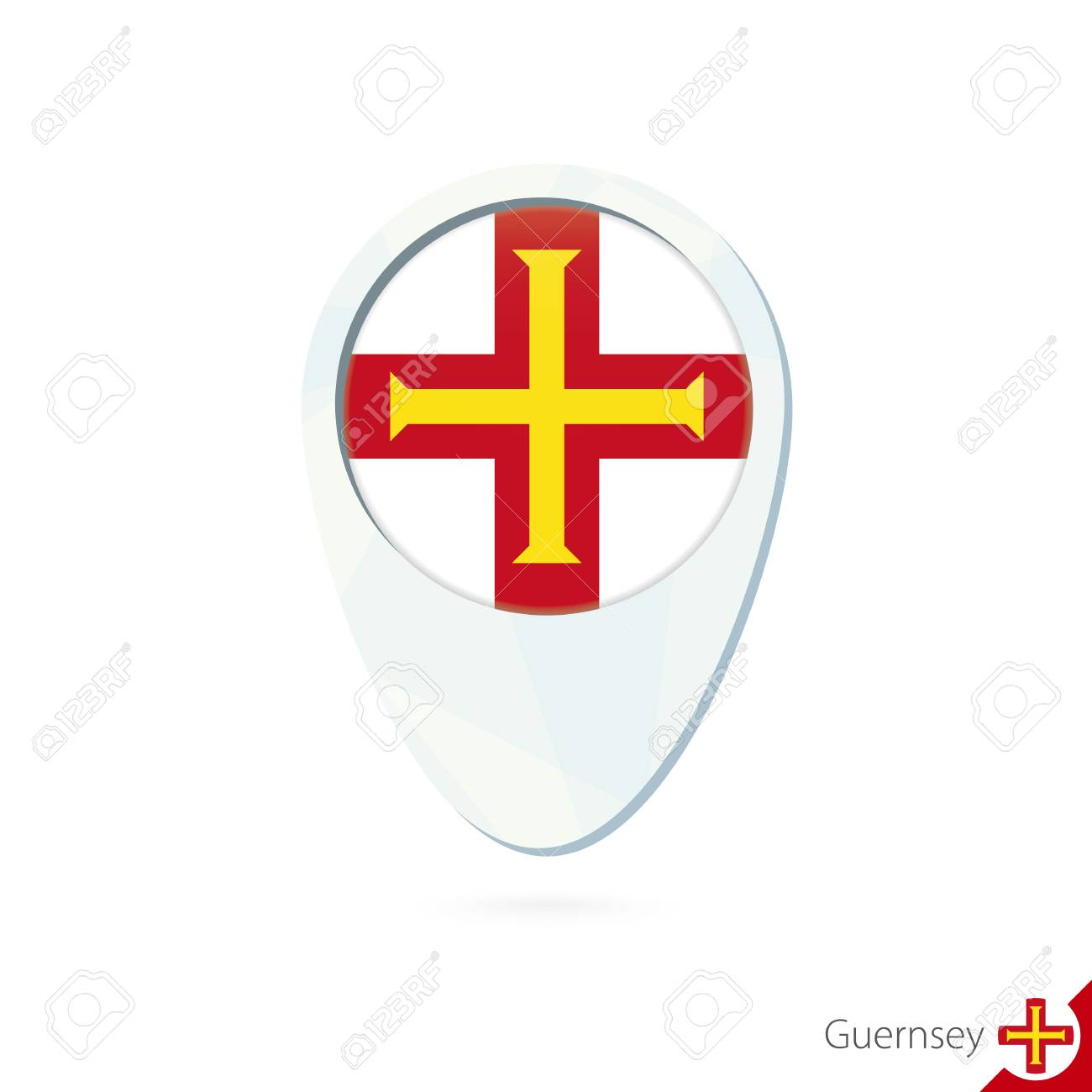 Guernsey Flag Location Map Pin Icon On White Background Vector