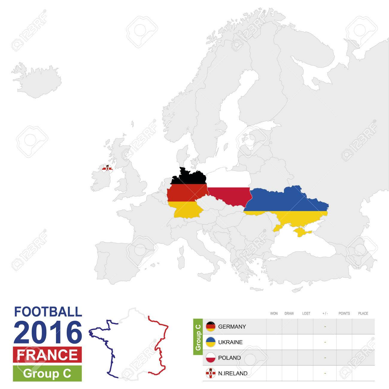 Football 2016 Group C Table Group C Highlighted On Europe Map Royalty Free Cliparts Vectors And Stock Illustration Image 55079461