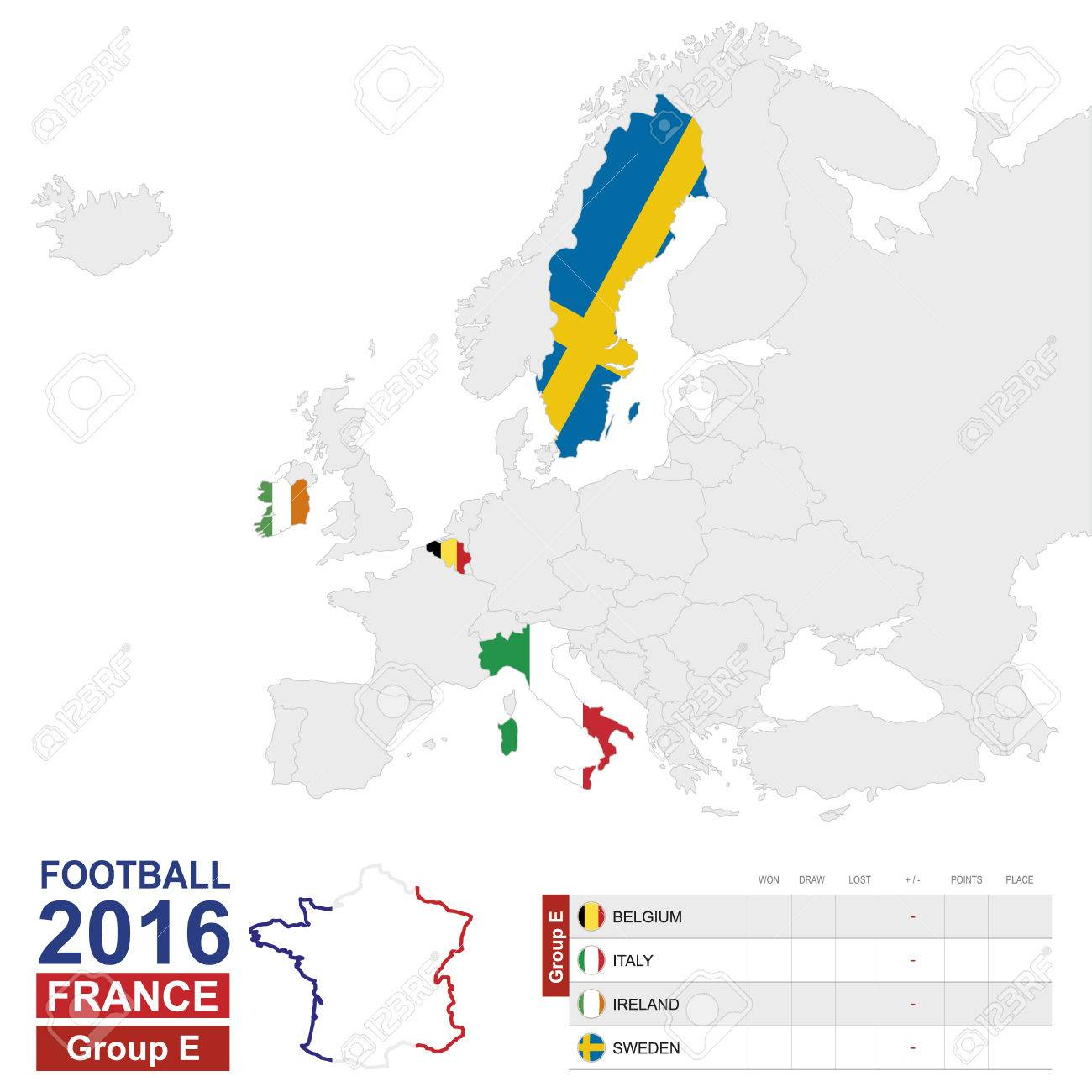 Map Of Europe With Italy Highlighted.Football 2016 Group E Table Group E Highlighted On Europe Map