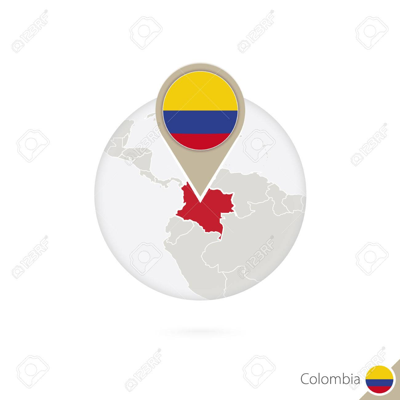 Colombia map and flag in circle. Map of Colombia, Colombia flag pin. Map of Colombia in the style of the globe. Vector Illustration. - 55212161