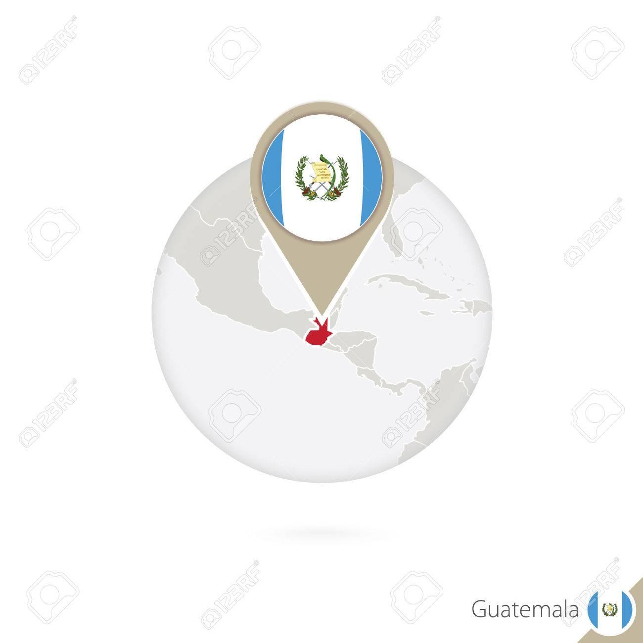 Guatemala Map And Flag In Circle Map Of Guatemala Guatemala