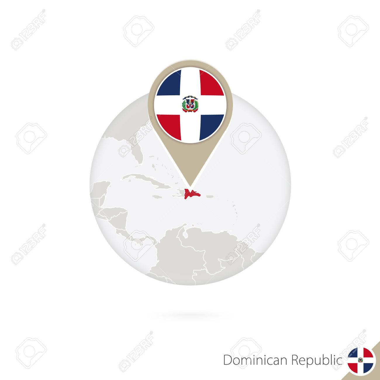 Dominican Republic Map And Flag In Circle Map Of Dominican - Dominican republic map vector