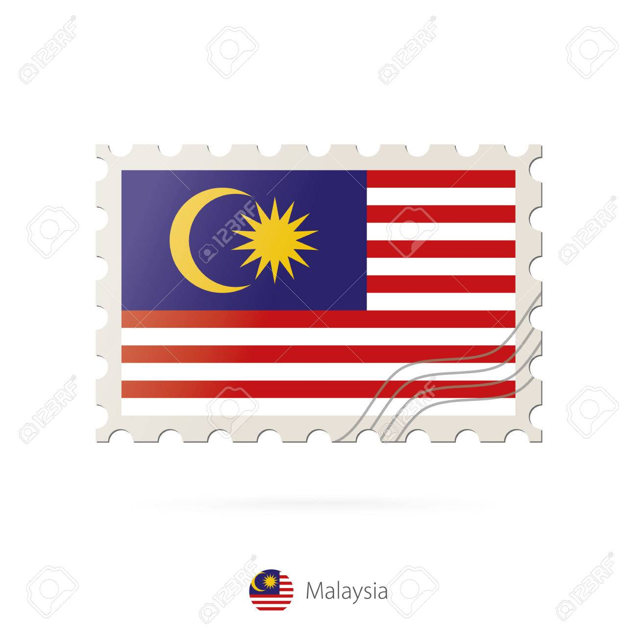 Postage stamp with the image of Malaysia flag. Malaysia Flag Postage on white background with shadow. Vector Illustration. - 56245508