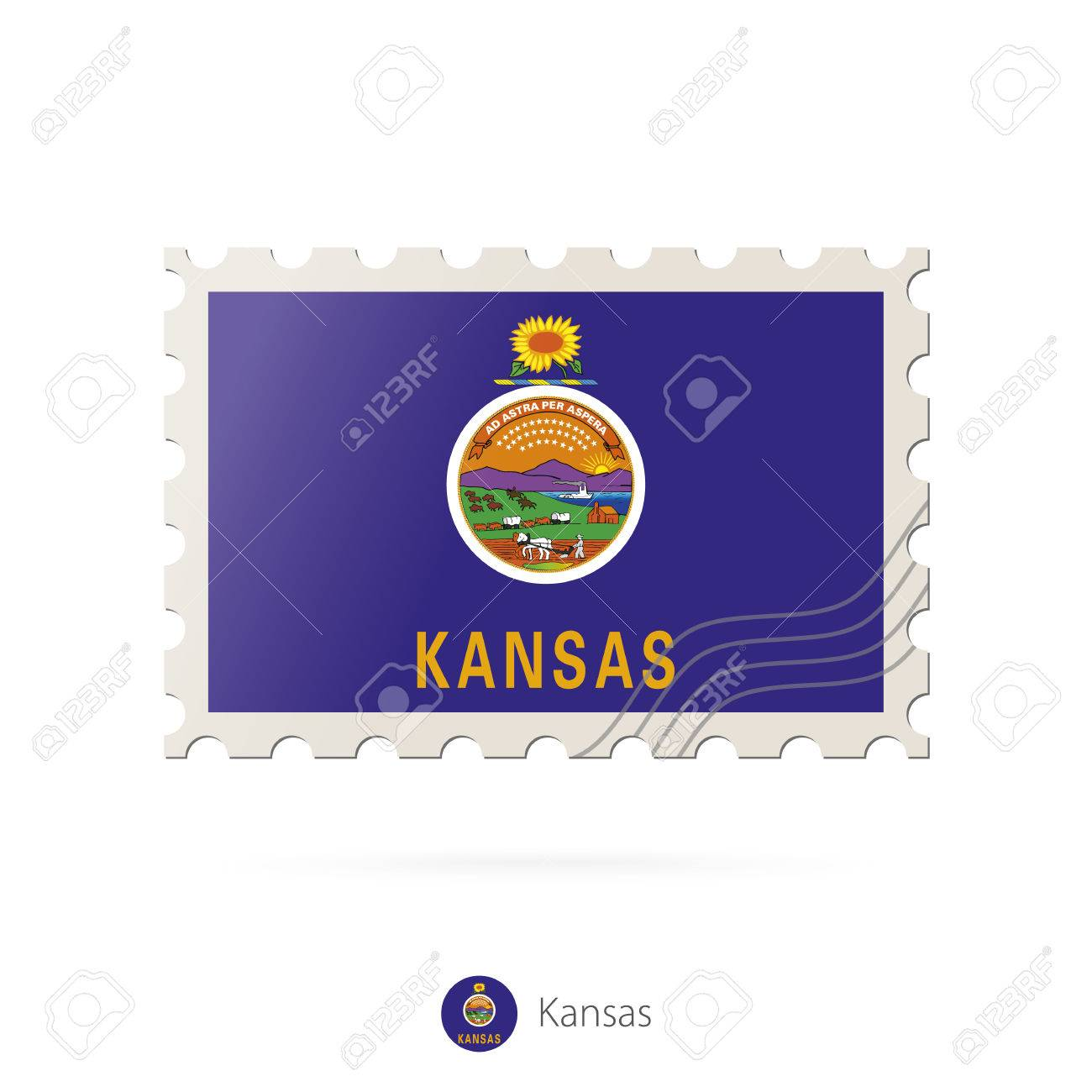 postage stamp with the image of kansas state flag kansas flag
