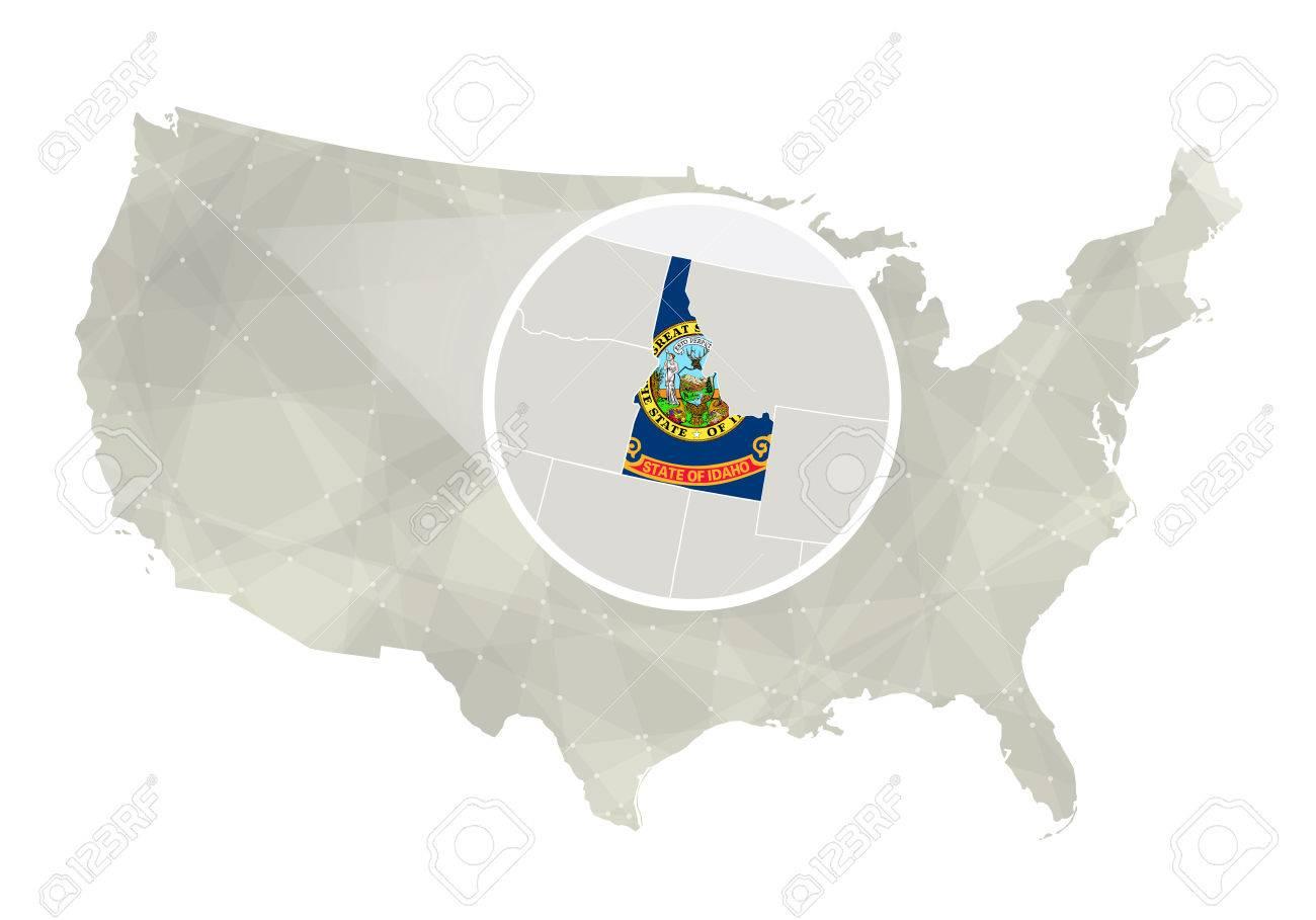 Polygonal Abstract USA Map With Magnified Idaho State Idaho