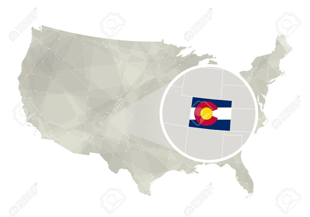 Polygonal Abstract USA Map With Magnified Colorado State Colorado