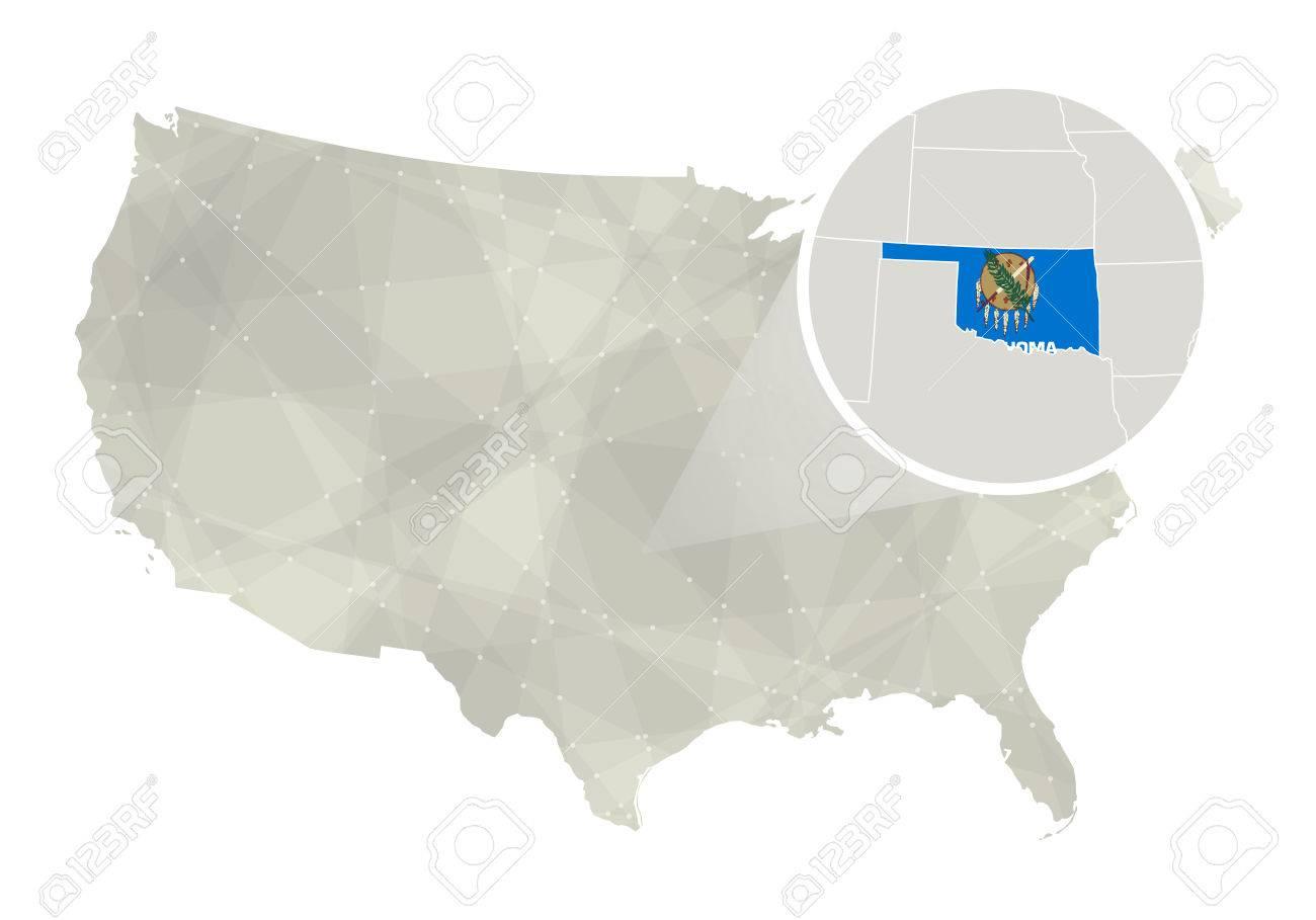Polygonal Abstrakt USA-Karte Mit Vergrößerten Oklahoma Zustand ...