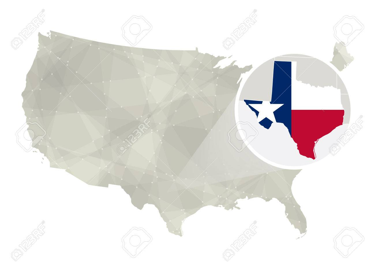 Polygonal Abstract USA Map With Magnified Texas State Texas