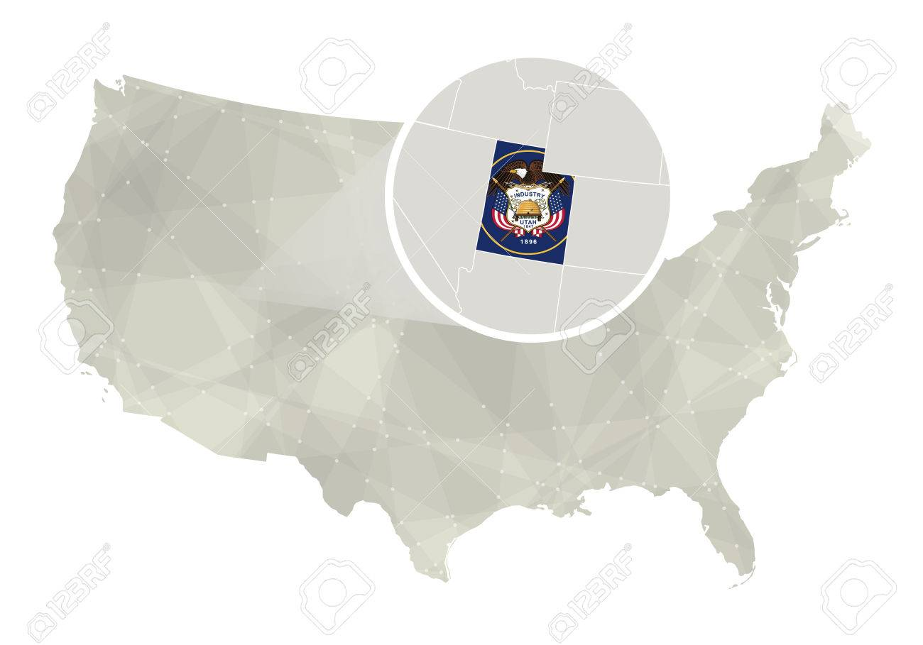 Polygonal Abstract USA Map With Magnified Utah State Utah State - Utah on us map
