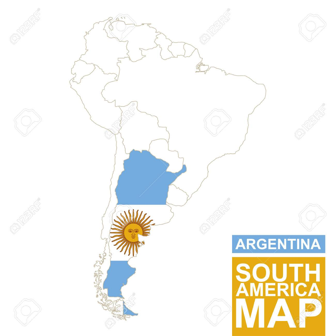 South America Contoured Map With Highlighted Argentina. Argentina ...