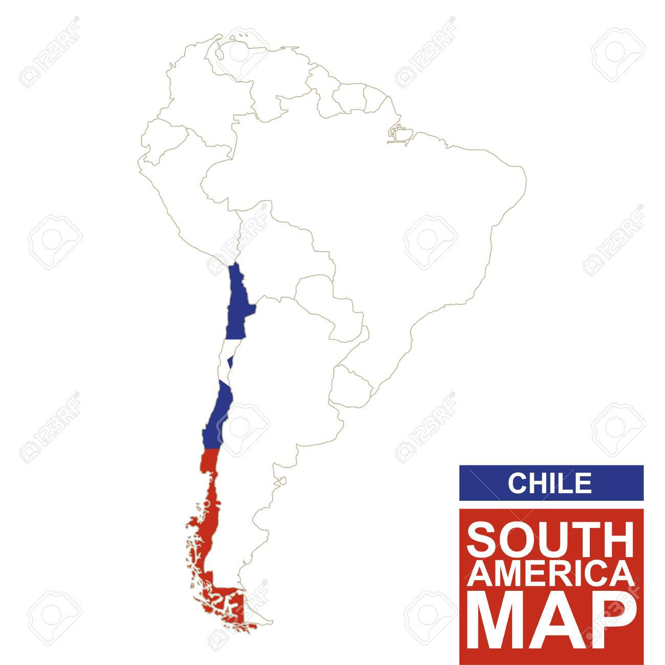 South America Contoured Map With Highlighted Chile. Chile Map ... on