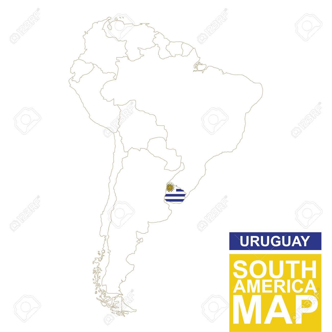 Carte Amerique Latine Uruguay.Carte Contournee De L Amerique Du Sud Avec L Uruguay Mis En Evidence