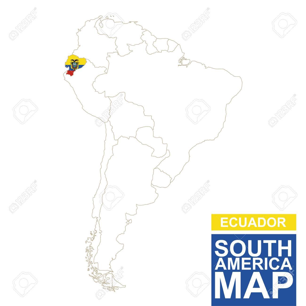 South America Map Ecuador.South America Contoured Map With Highlighted Ecuador Ecuador