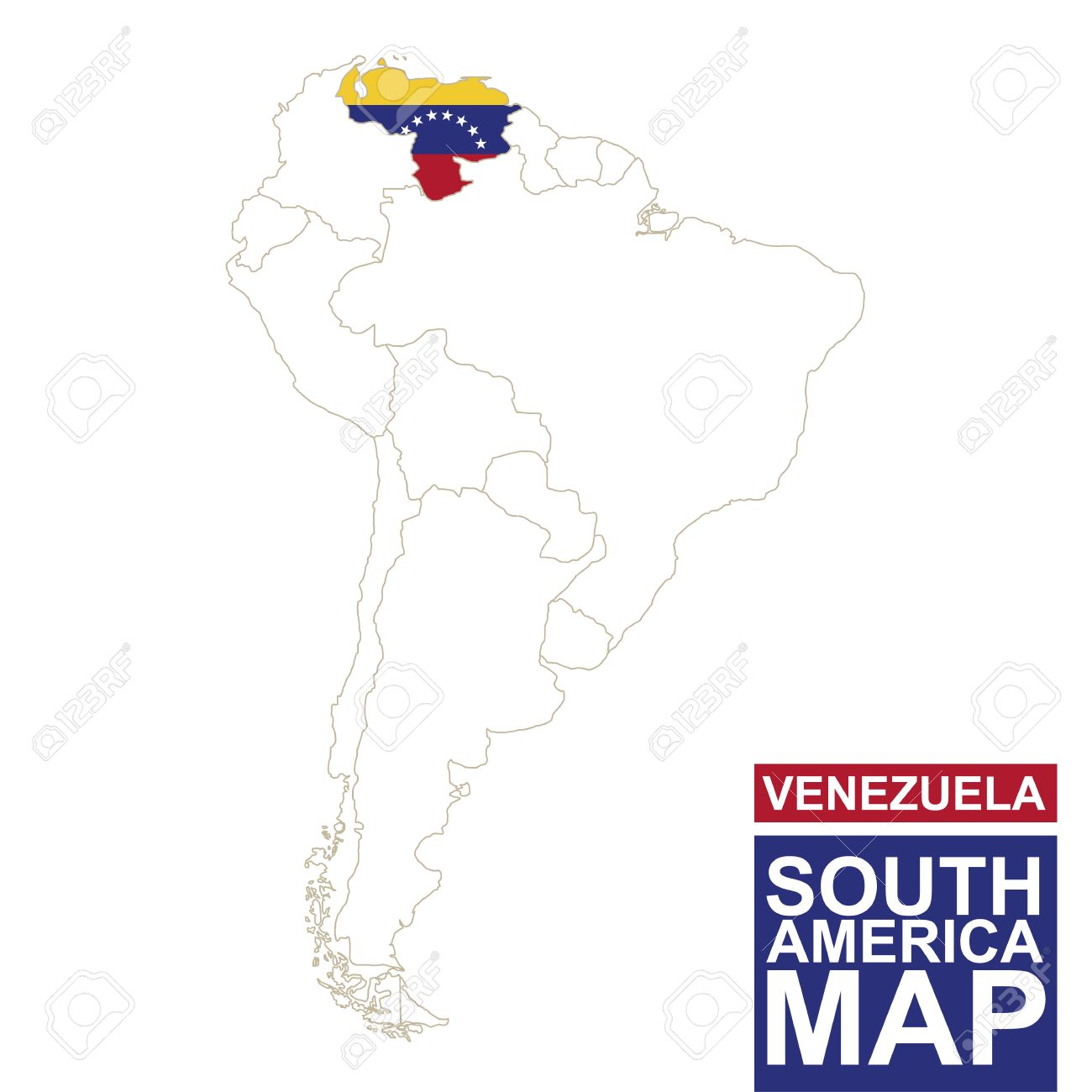 South America Contoured Map With Highlighted Venezuela Venezuela - Map of venezuela south america