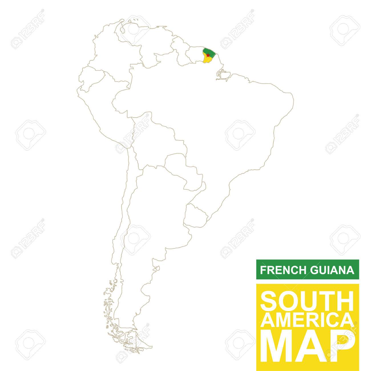 South America Contoured Map With Highlighted French Guiana French - South america french guiana map