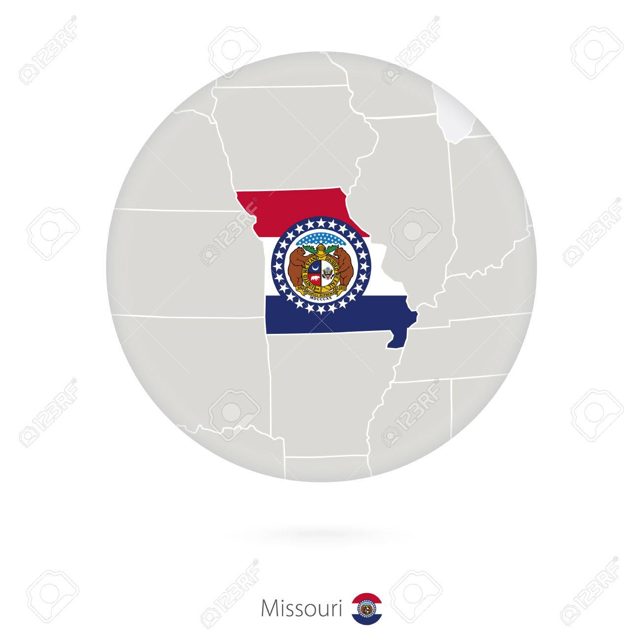 Map Of Missouri State And Flag In A Circle Missouri Us State