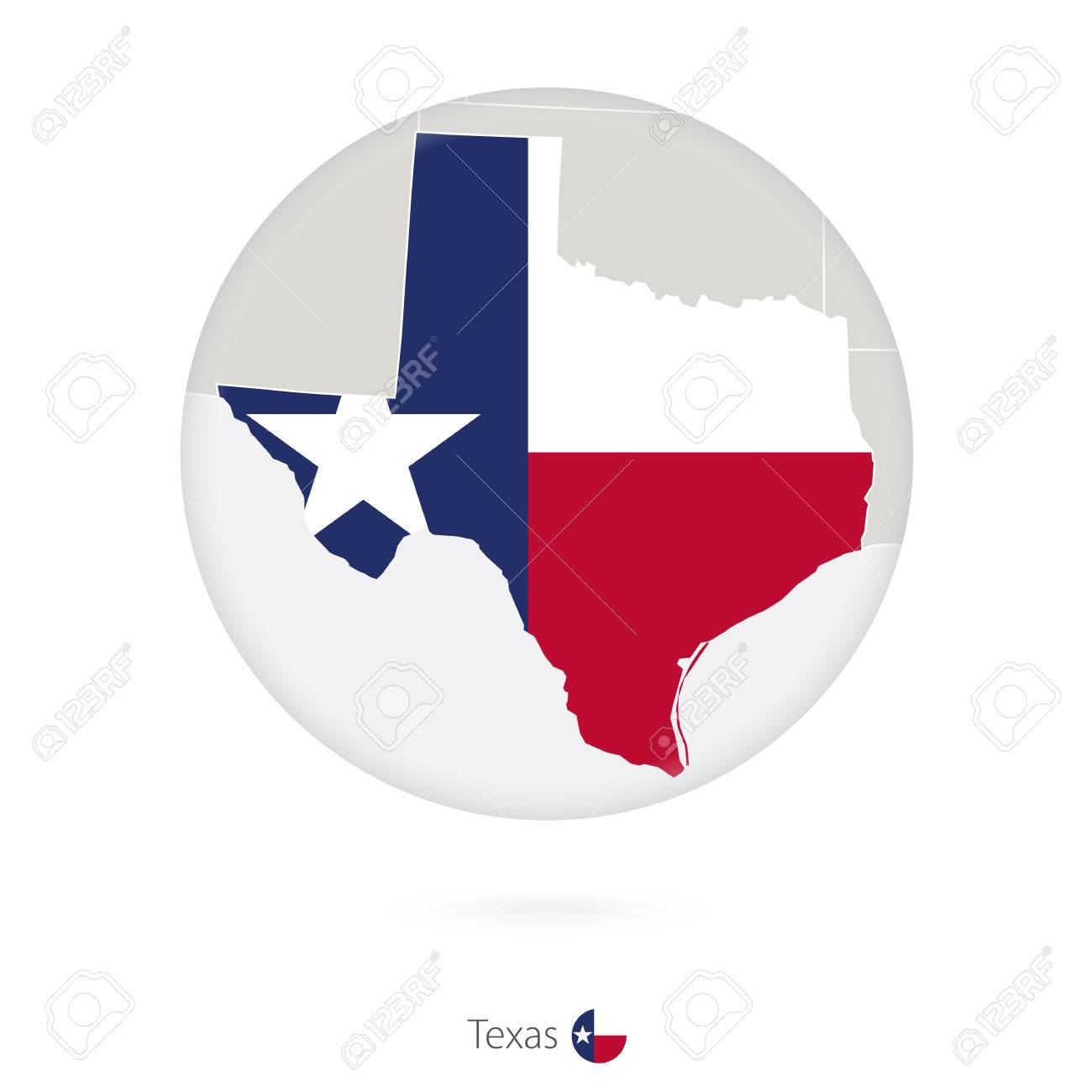 Map Of Texas State And Flag In A Circle Texas US State Map - Us map texas vector