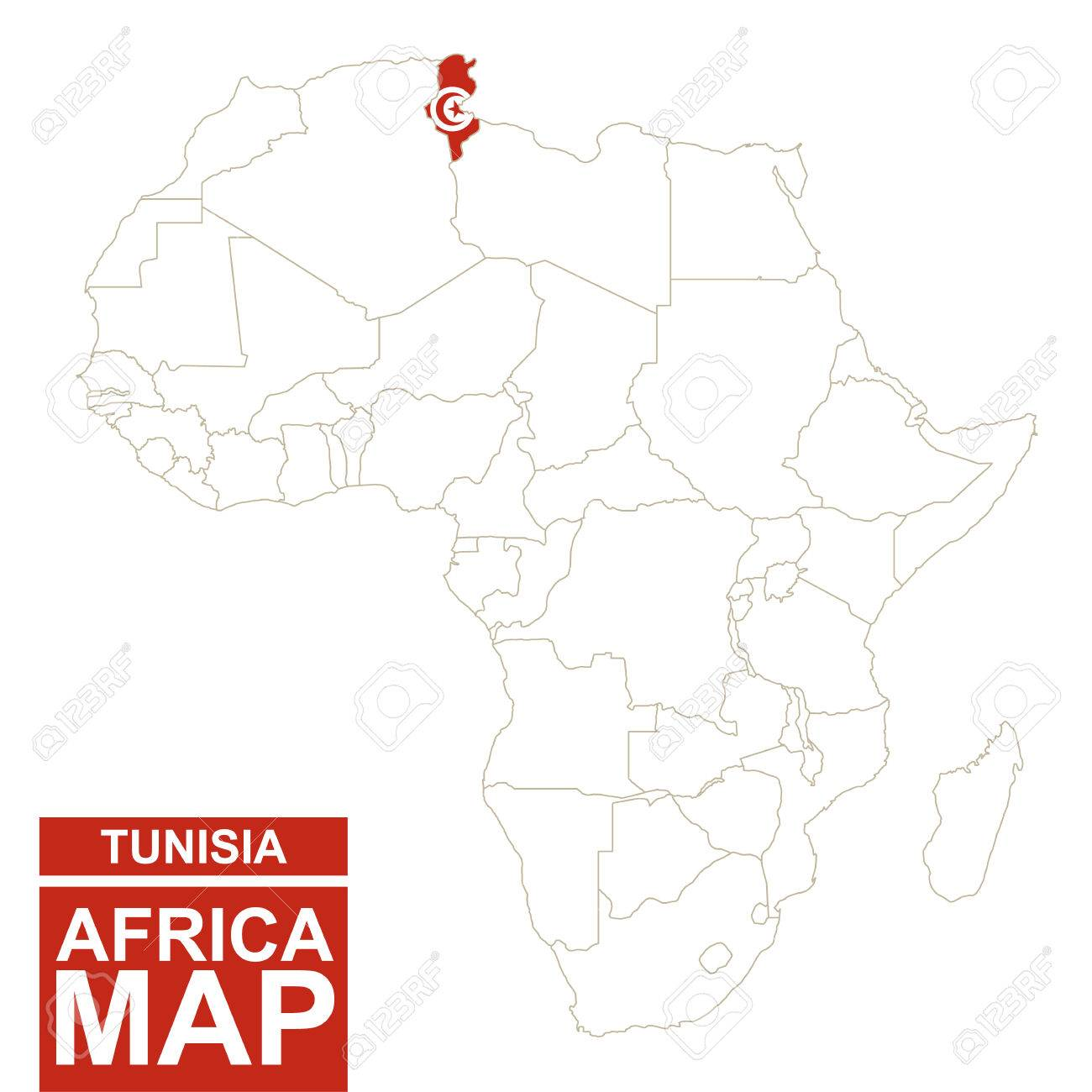 Africa Contoured Map With Highlighted Tunisia. Tunisia Map And ...