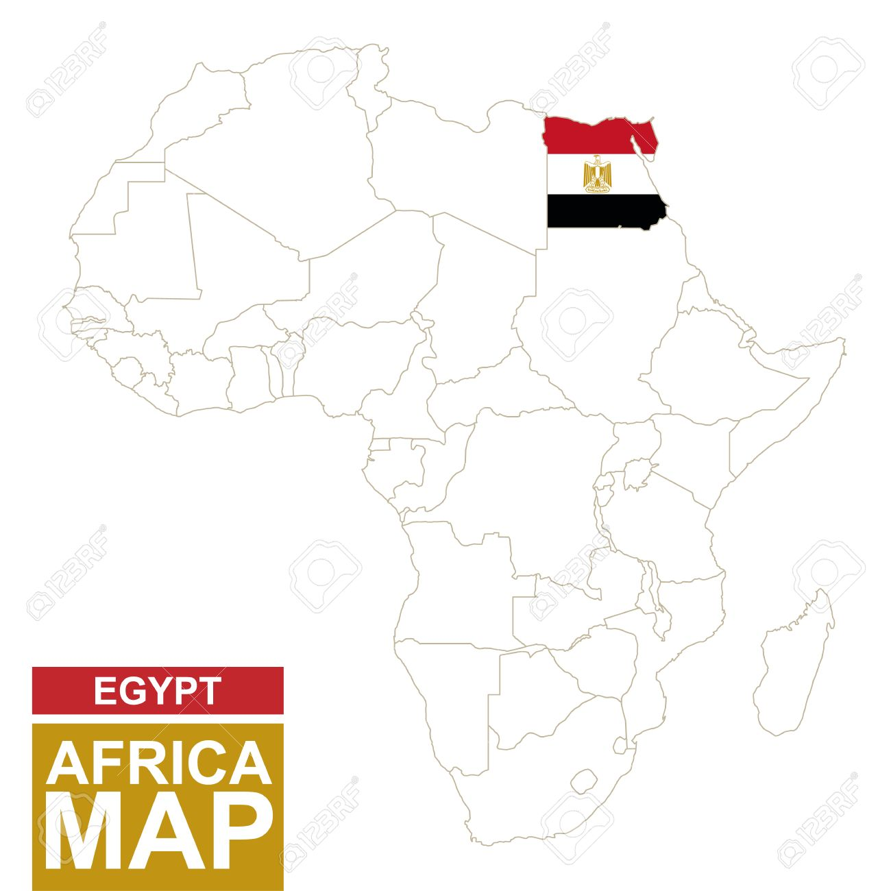 Africa contoured map with highlighted Egypt. Egypt map and flag.. on