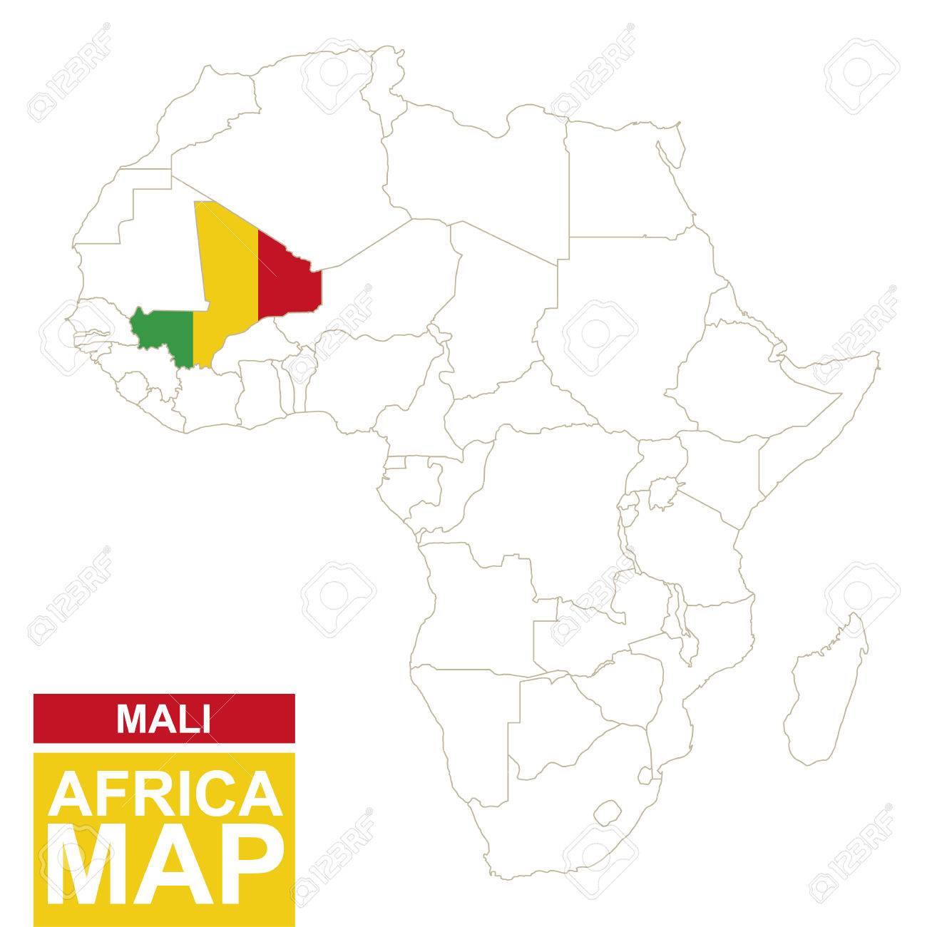 Africa contoured map with highlighted Mali. Mali map and flag.. on aksum on map, nile river on map, senegal on map, songhai on map, mauritius on map, greece on map, timbuktu on map, tanzania on map, uganda on map, burundi on map, kilwa on map, niger river on map, ghana on map, eritrea on map, libyan desert on map, nauru on map, nigeria on map, iberian peninsula on world map, scotland on map, somalia on map,