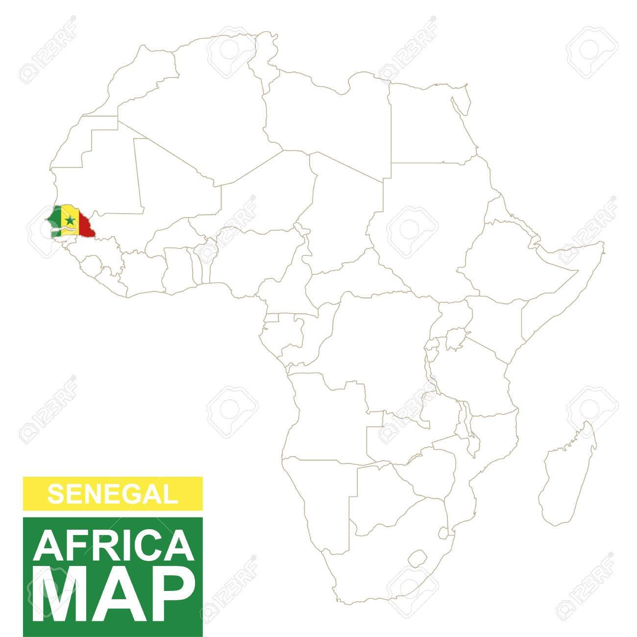 Mapa Contorneada Con áfrica Senegal Resaltado Senegal Mapa Y La Bandera En El Mapa De áfrica Ilustración Del Vector
