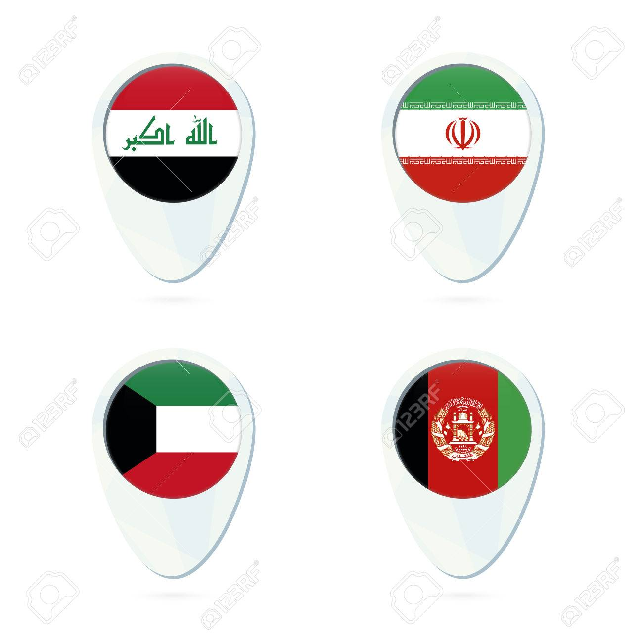 Iraq Iran Kuwait Afghanistan Flag Location Map Pin Icon Vector