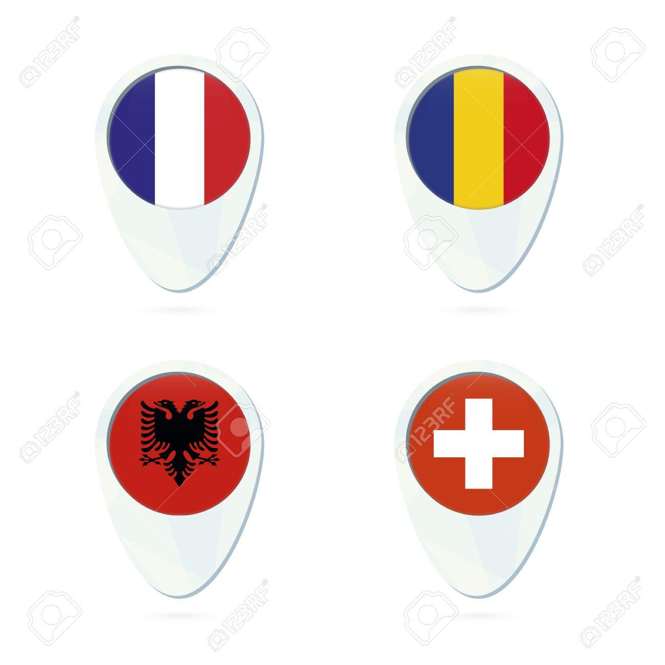 France, Romania, Albania, Switzerland flag location map pin icon...