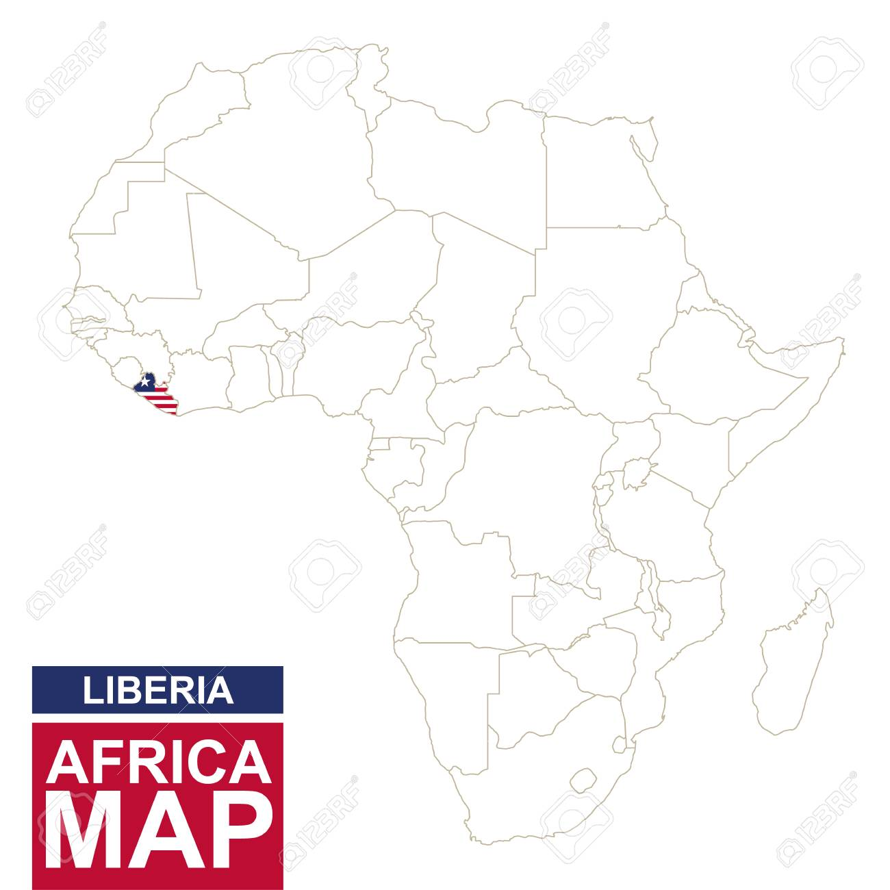 Liberia On Africa Map.Africa Contoured Map With Highlighted Liberia Liberia Map And