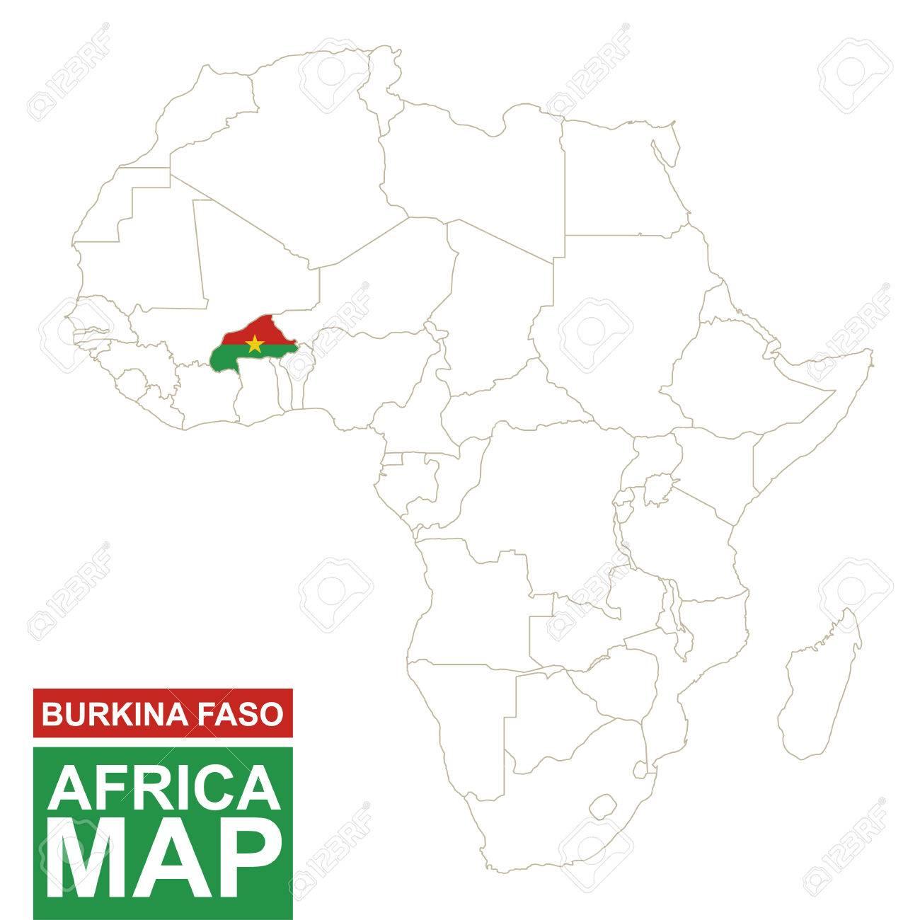 Carte Afrique Burkina Faso.Carte Contournee De L Afrique Avec Le Burkina Faso Mis En Evidence Carte Du Burkina Faso Et Drapeau Sur La Carte De L Afrique Illustration