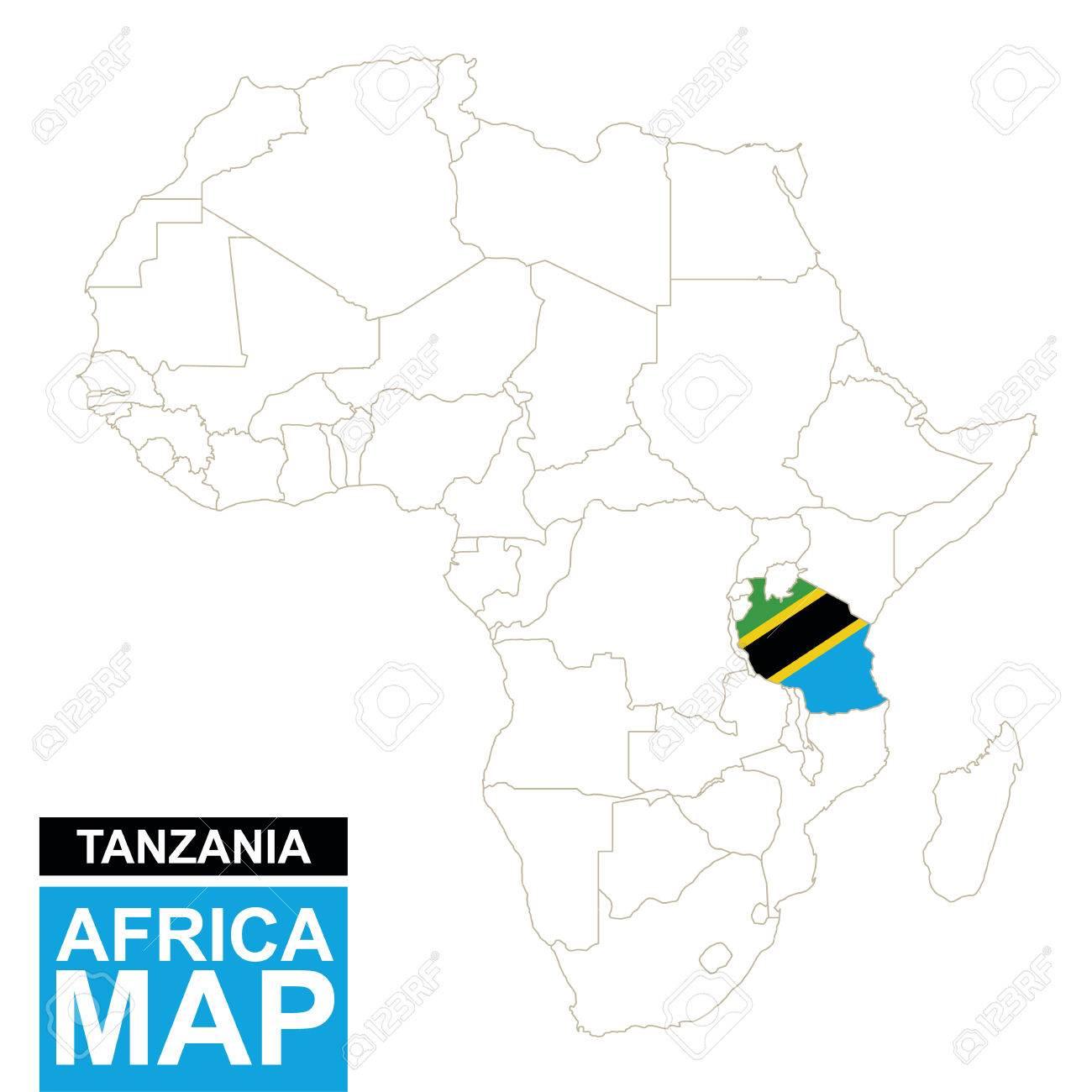Tanzania On Africa Map.Africa Contoured Map With Highlighted Tanzania Tanzania Map