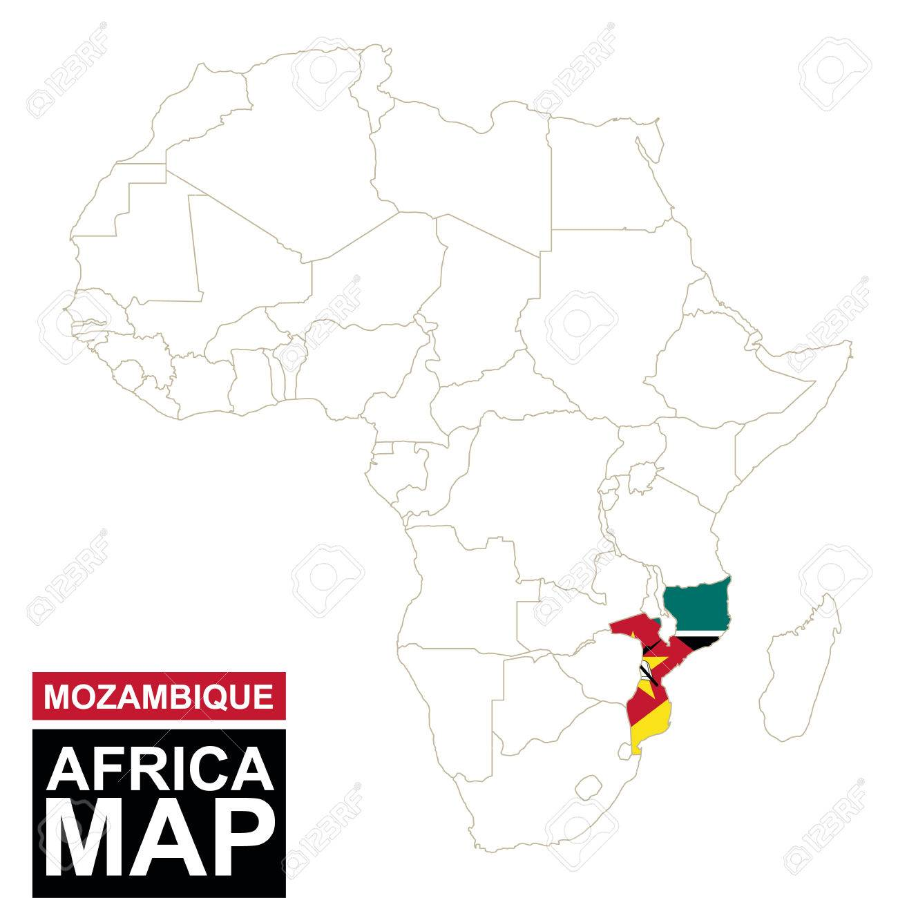 Africa contoured map with highlighted mozambique mozambique africa contoured map with highlighted mozambique mozambique map and flag on africa map vector sciox Choice Image