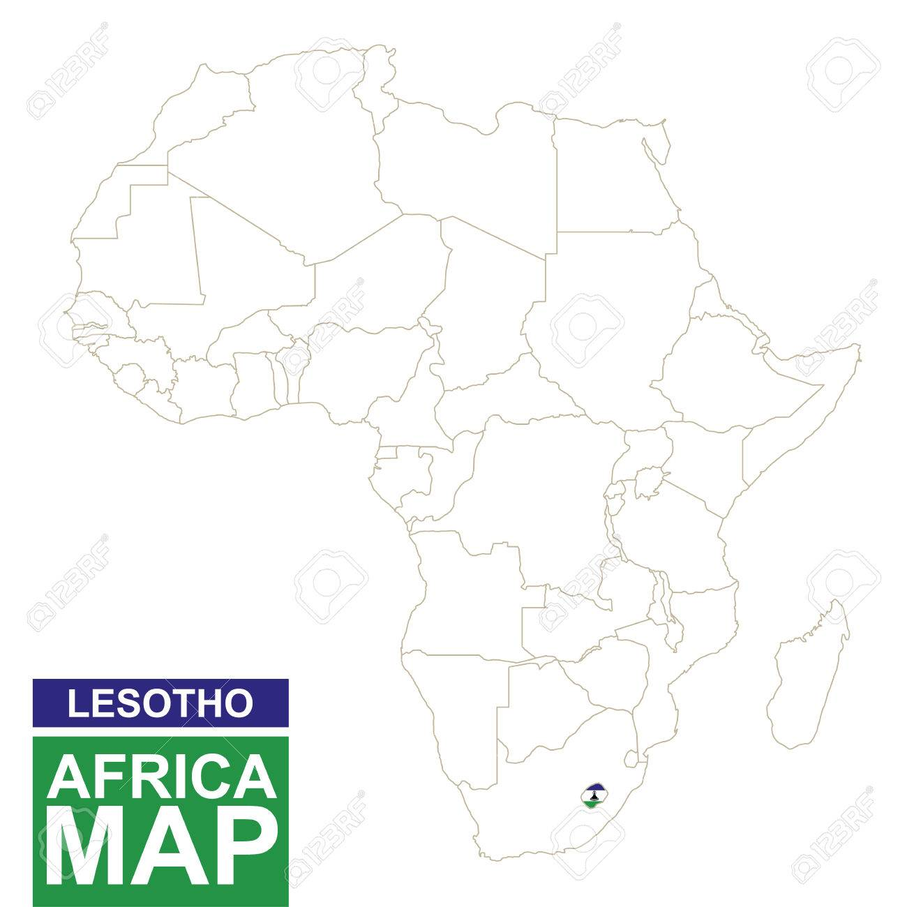 Africa Contoured Map With Highlighted Lesotho Lesotho Map And