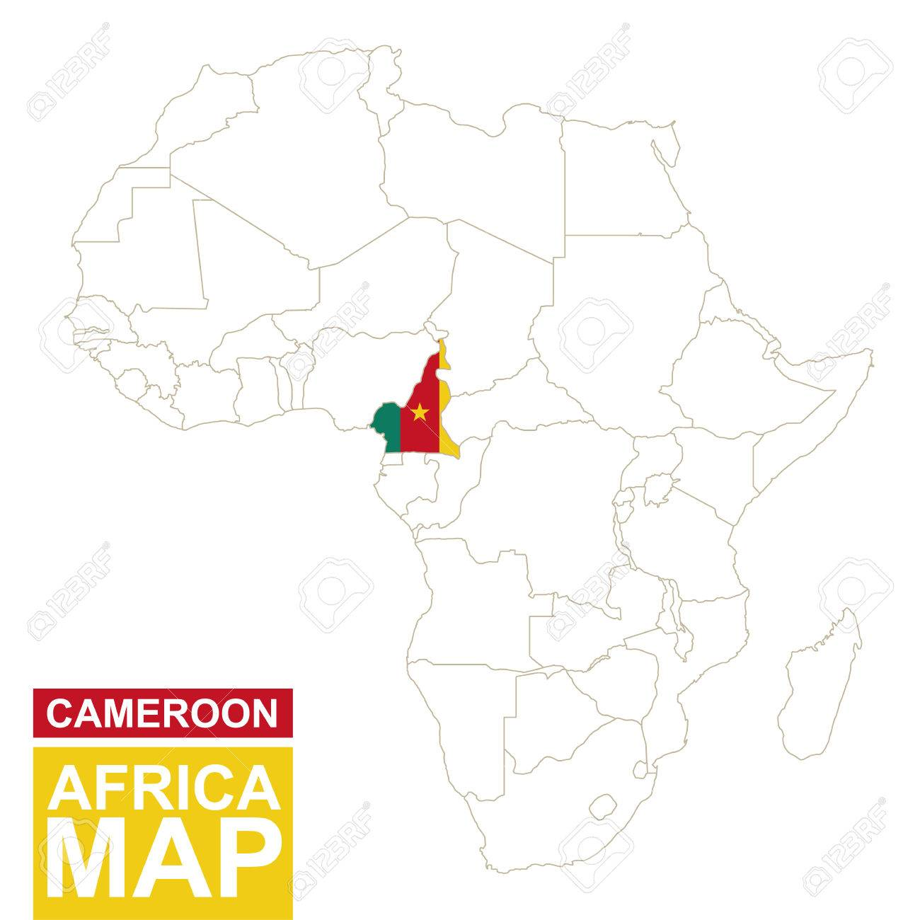 Africa contoured map with highlighted cameroon cameroon map africa contoured map with highlighted cameroon cameroon map and flag on africa map vector ccuart Image collections