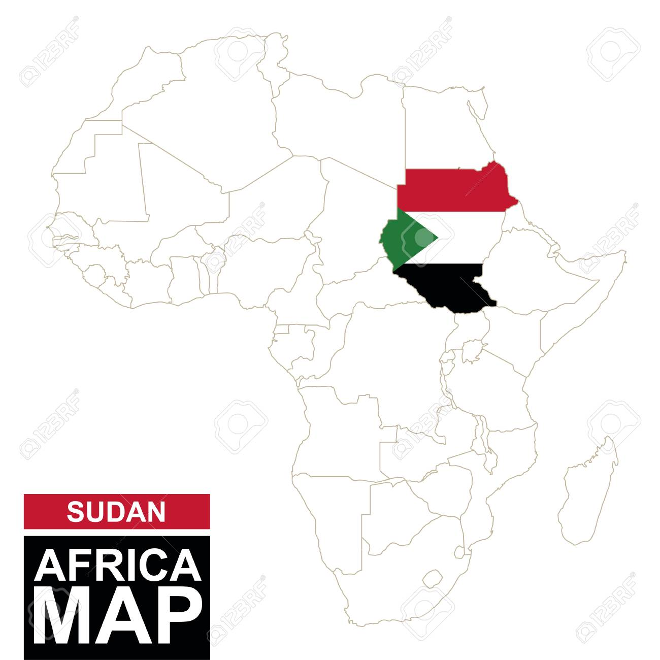Africa Contoured Map With Highlighted Sudan. Sudan Map And Flag ...